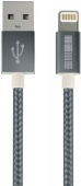 Кабель INTER-STEP Apple Lightning - USB 2.0 Nylon, 1 м, Space Gray